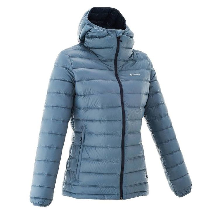35 - Hiking Clothing - Forclaz 300 Women's Down Jacket - Denim QUECHUA - Tops