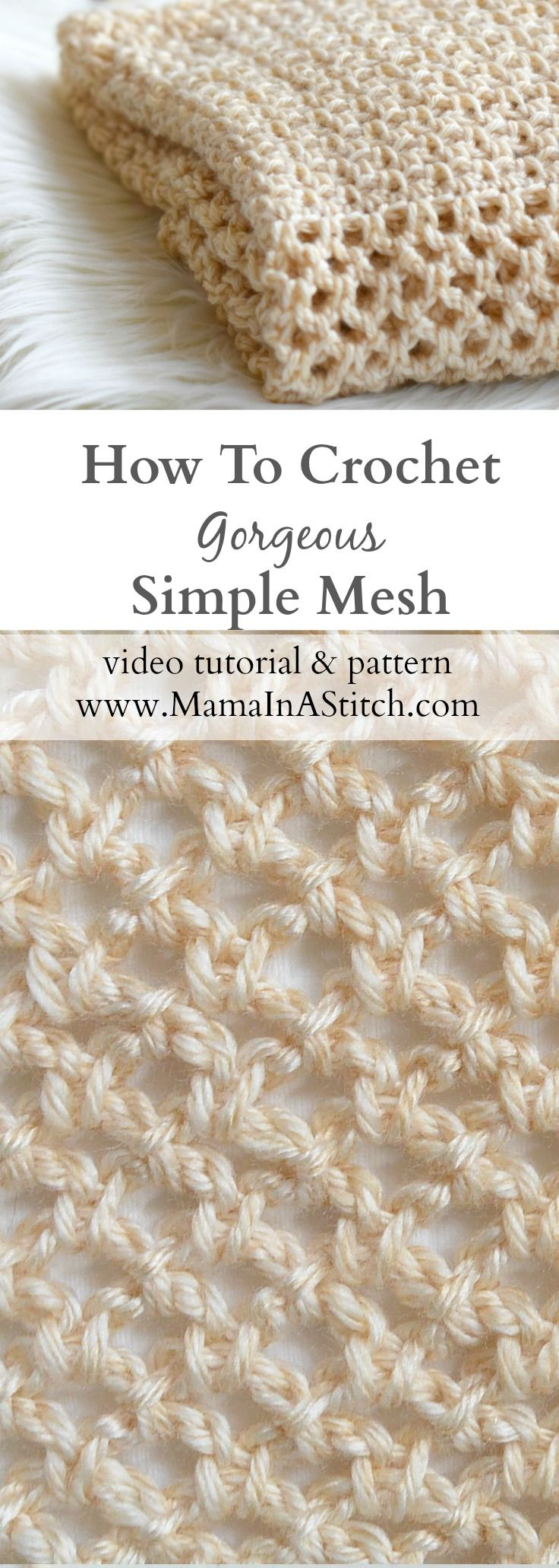 How To Crochet An Easy Mesh Stitch via @MamaInAStitch This is a modern mesh stitch works up beautifully and is so easy to make! Free pattern and tutorial.