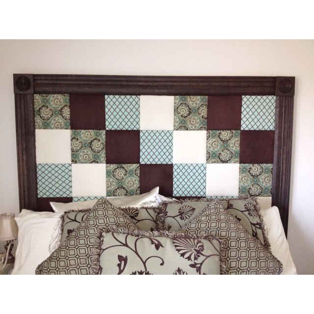 Homemade headboard can you tell fabric covered squares for Makeshift headboard