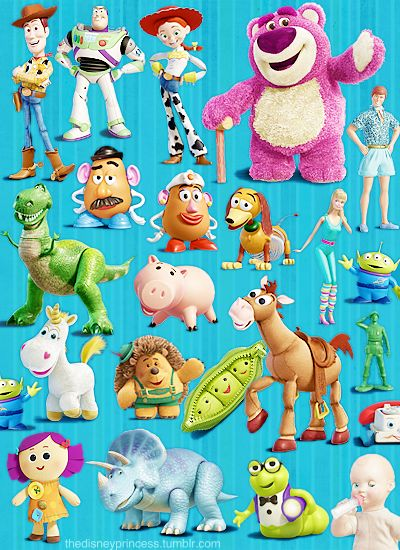 Toy Story - Woody, Buzz Lightyear, Jessie, Lotso (Lots of Hugging Bear) Mr & Mrs Potato Head, Slinky Dog, Barbie & Ken, Rex, Hamm, Aliens, Buttercup, Mr. Prickle Pants, Peas in a Pod, Bullseye, Toy Soldier,Chatter Telephone, Chuckles, Trixie, Bookworm, and Big Baby