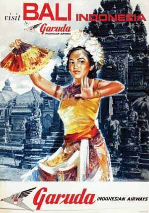 Vintage Visit Bali Garuda Indonesia Poster