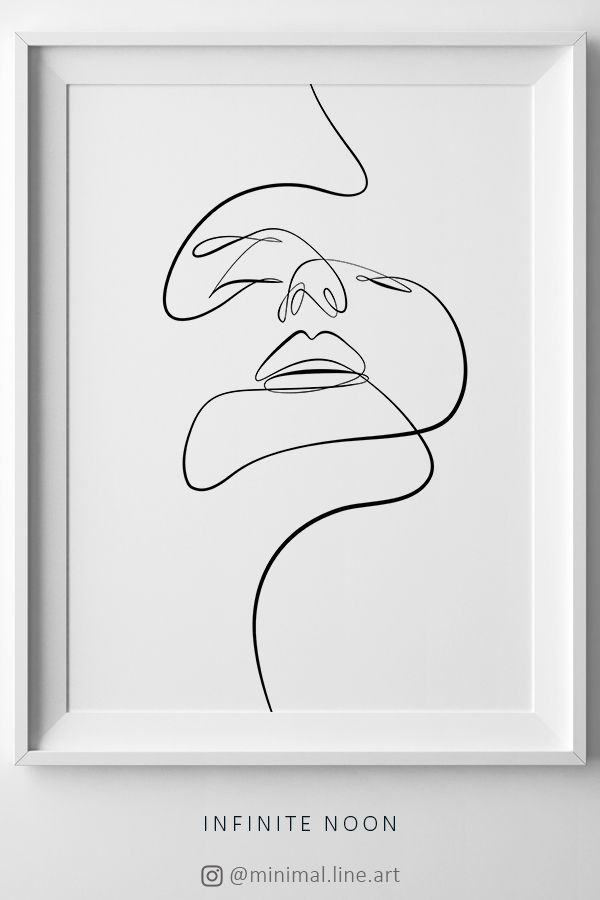 Abstract Female Face Print, Printable One Line Drawing, Feminine Continuous Lines, Minimalist Artwork, Face Line Art, Modern Wall Art, Decor – Infinite Noon