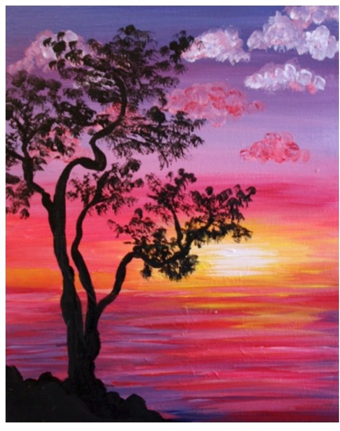 Tree silhouette sunset painting in pinks, orange and yellow.