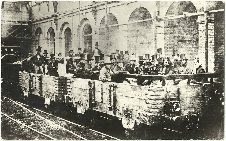 """24th May 1862:  First journey on the London Underground:  """"One of several pre-opening trial trips on the Metropolitan Railway, at Edgware Road. The then Chancellor of the Exchequer, the Rt Hon William Gladstone and his wife, and John Fowler the engineer are among the invited party aboard Smith & Knight's open wagons. This was a special trial trip in a contractor's train on the first section of the Metropolitan Railway""""  - London Transport Museum"""