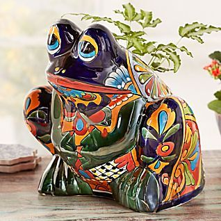 Talavera-style Frog Planter