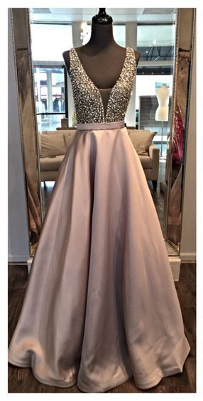 Prom Dresses,V Neck Prom Gowns,Long Satin Prom Dresses,Gray
