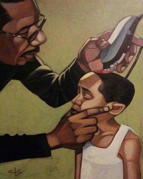 Barber cutting the little boy hair