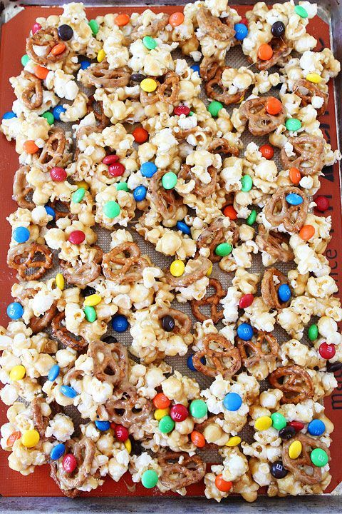 Sweet and Salty Marshmallow Popcorn Recipe on twopeasandtheirpod.com Everyone loves this sweet and salty popcorn! Such a fun treat!