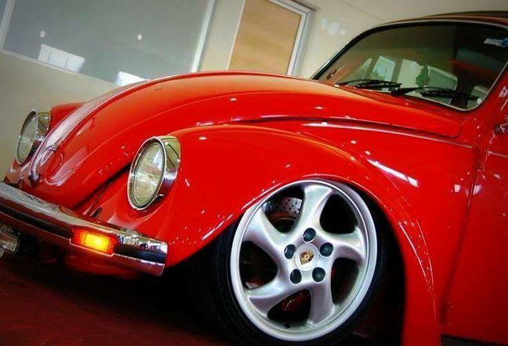 Red Volkswagen Beetle with Porsche wheels!! | CLASSIC VEHICLES | Pinterest | Volkswagen, Porsche ...