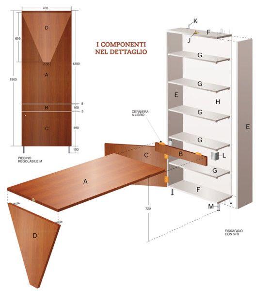Oltre 25 fantastiche idee su scrivania pieghevole su for Costruire un tavolo pieghevole