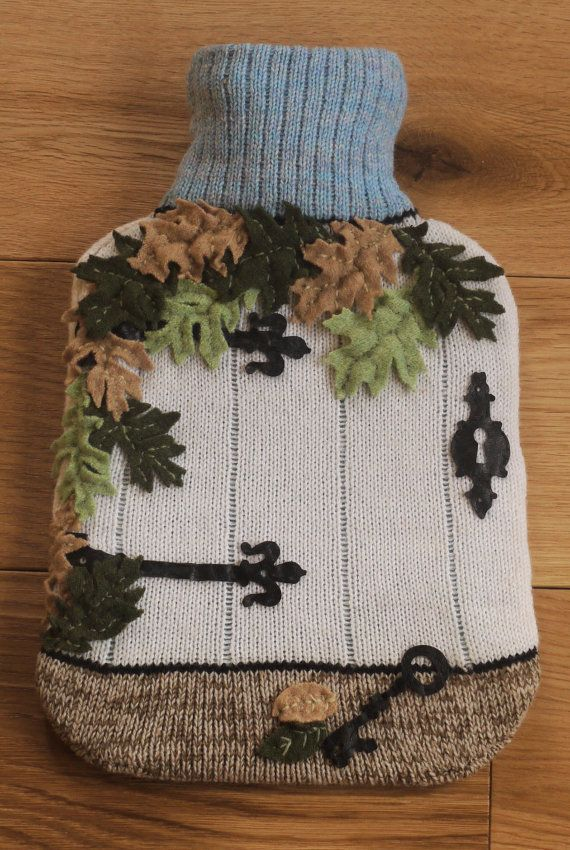 Knitted hot water bottle cover with secret by LindaAnnBingham, £35.00