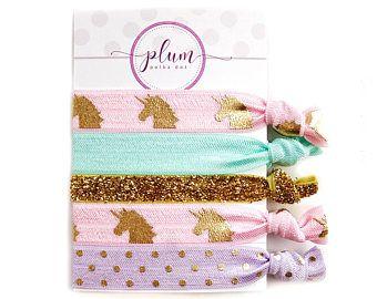Unicorn Hair Ties, Christmas Gift for Unicorn Lover, Stocking Stuffers Teen Girl, Stocking Stuffer Girl, Unicorn Gifts Under 10, Set of 5