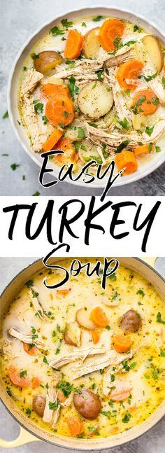 This easy leftover turkey soup recipe is fast, easy, and healthy. Full of veggies and flavor! #turkeysoup