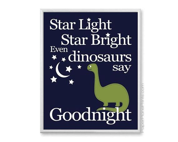Navy and green dinosaur nursery art print for your baby boy nursery or toddlers bedroom. Adorable stars and moon. Star light, star bright, even dinosaurs say goodnight. Unframed, premium paper 8x10 or 11x14 inches MORE ART FOR KIDS: http://www.etsy.com/shop/paperplaneprints/search?search_query=nursery+nursery BOYS ART http://www.etsy.com/shop/paperplaneprints/search?search_query=boy+boy Please keep in mind that all monitors are a ...