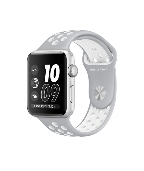 Apple Watch Nike+, 42mm Silver Aluminium Case with Flat Silver/White Nike Sport…