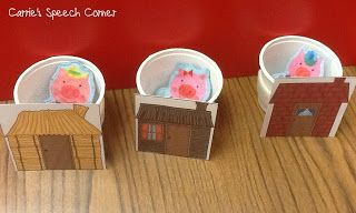3 little pigs idea, love this, use cups behind the different types of houses