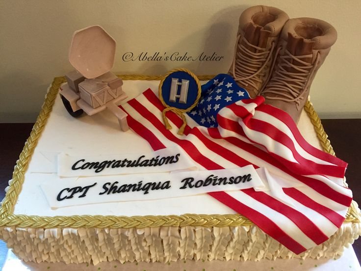 CPT Robinson's STT, Flag and Combat Boots Promotion Cake