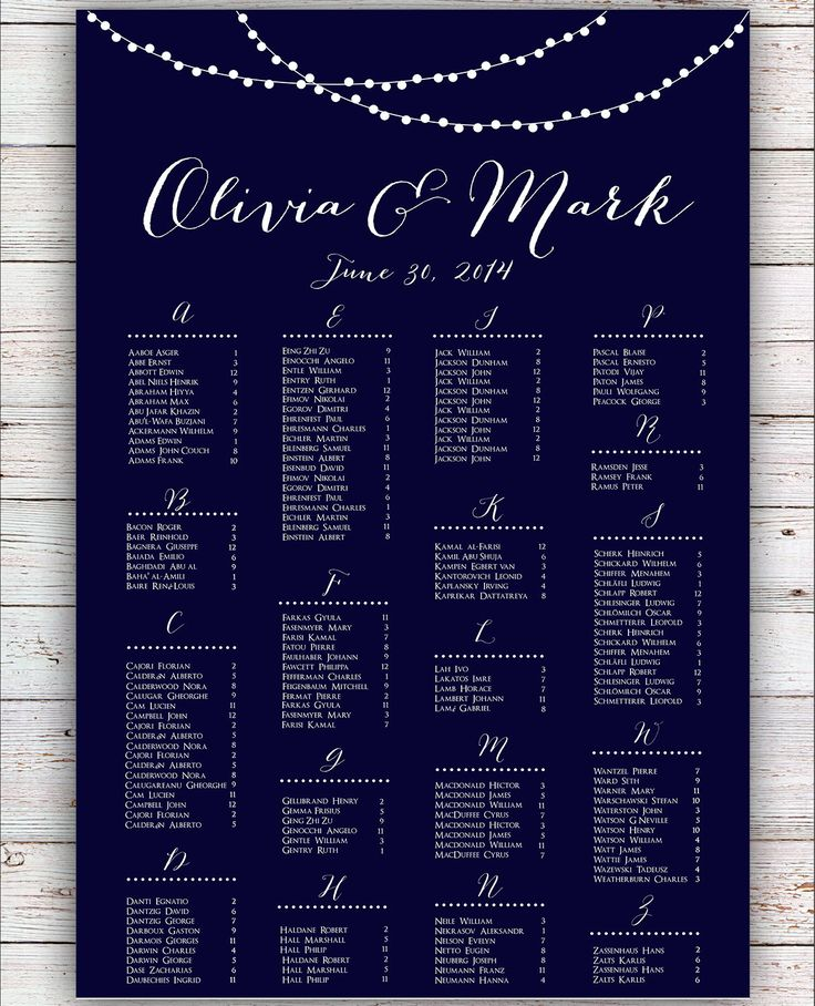 Printable Seating Chart For Wedding Reception: Wedding Seating Chart