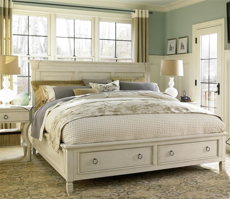 country chic wood king size white storage bed