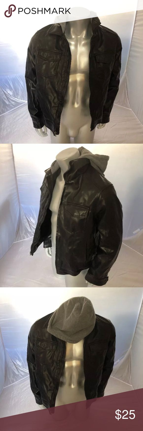 Signature LEVIS Black Men's Faux Leather Jacket Signature LEVIS Black Men's Faux Leather Jacket w/ Sewn In Grey Hoodie Size M Levi's Jackets & Coats Bomber & Varsity