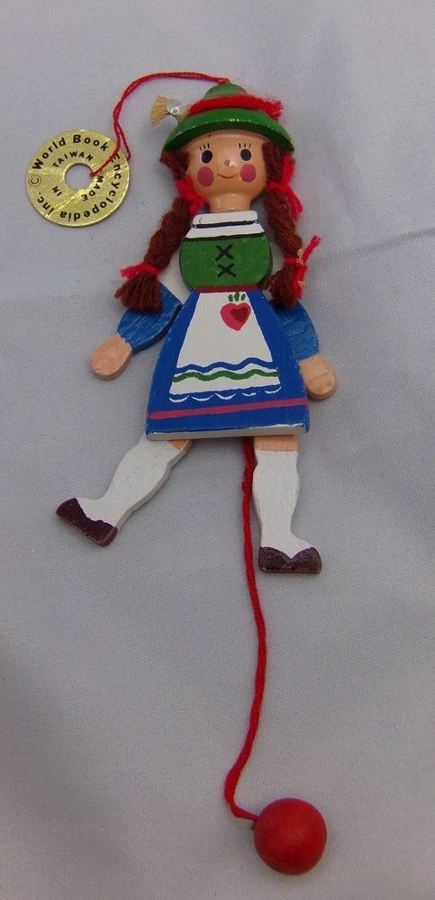 Vtg 1982 World Book Encyclopedia Wooden Swiss Girl Pull String Ornament Gift | Collectibles, Holiday & Seasonal, Christmas: Modern (1946-90) | eBay!
