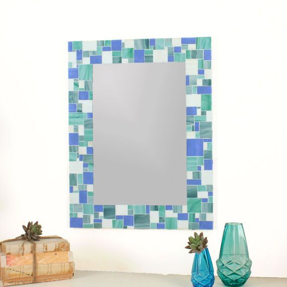 Decorative Mosaic Bathroom Wall Mirror In Blues Sea Green And White Stained Glass Tiles