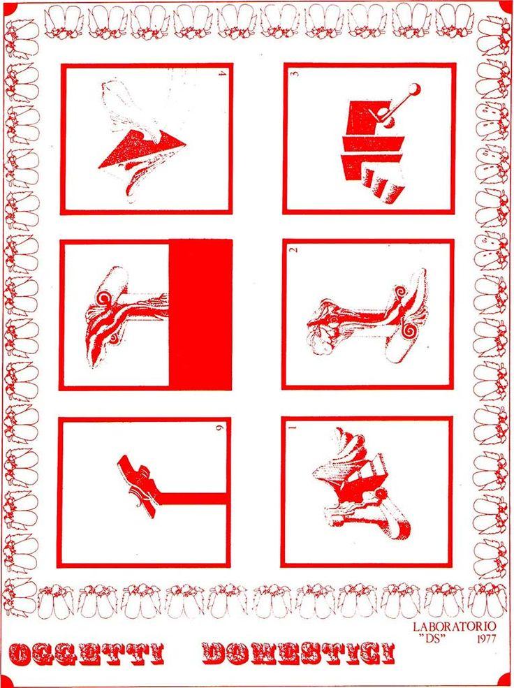 1976 ABACO_OGGETTI DOMESTICI, LONDON carta da lucido cm. 80 x 60.by Brunetto De Batté