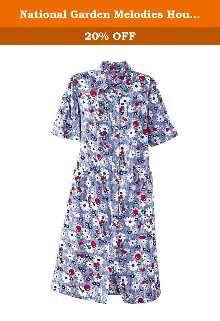 National Garden Melodies House Coat, Cherry Print, Large - Misses, Womens. Make a morning at home feel like a tropical holiday in our Garden Melodies House Coat. Made of richly printed, easy-care cotton-polyester, this delicate summer duster features gathered yokes and short sleeves for generous, warm-weather comfort. A full snap front and patch pockets make this women's duster a summertime essential. * Machine wash and dry * Imported * Sizes: S M L; 1X 2X 3X * Approx. length 42''.