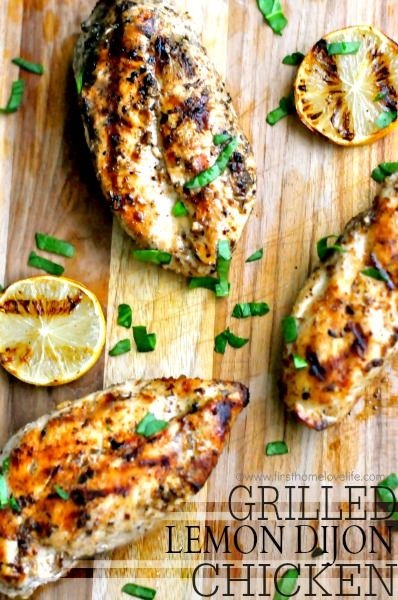 GRILLED LEMON DIJON CHICKEN- Fast, Easy, Delicious...Mouthwateringly perfect in every way! #grilled #chickenrecipes #recipe #dinneridea #grilling #chicken #lemon #dijon