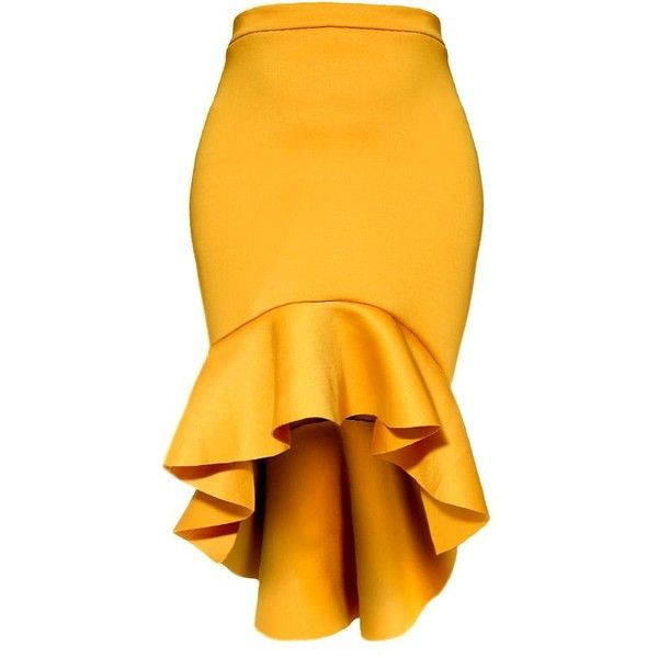 Plus Size Hi Low Ruffle Mermaid Hem Skirt, Mustard ($36) ❤ liked on Polyvore featuring skirts, hi low skirt, midi skirt, flared midi skirt, hi lo skirt and plus size high low skirt