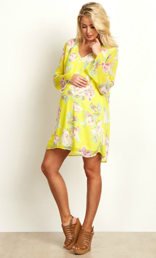These bright hues are just in time for the spring season and warm weather ahead. A gorgeous floral print and a lightweight chiffon material will keep you cool and looking beautiful. Pair this maternity dress with boots and a long necklace for a complete ensemble to wear to any occasion.