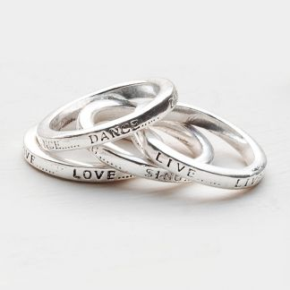 Live...Love...Dance...Sing Rings Silver at www.capricci.nl