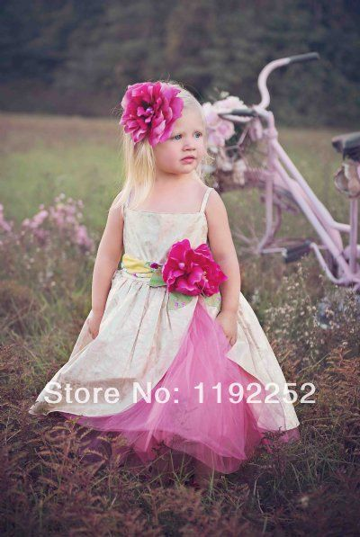 Free Shipping Custom Made Cute One Piece Babygirls Summer Dress With Lace Crepe Chiffon Fake
