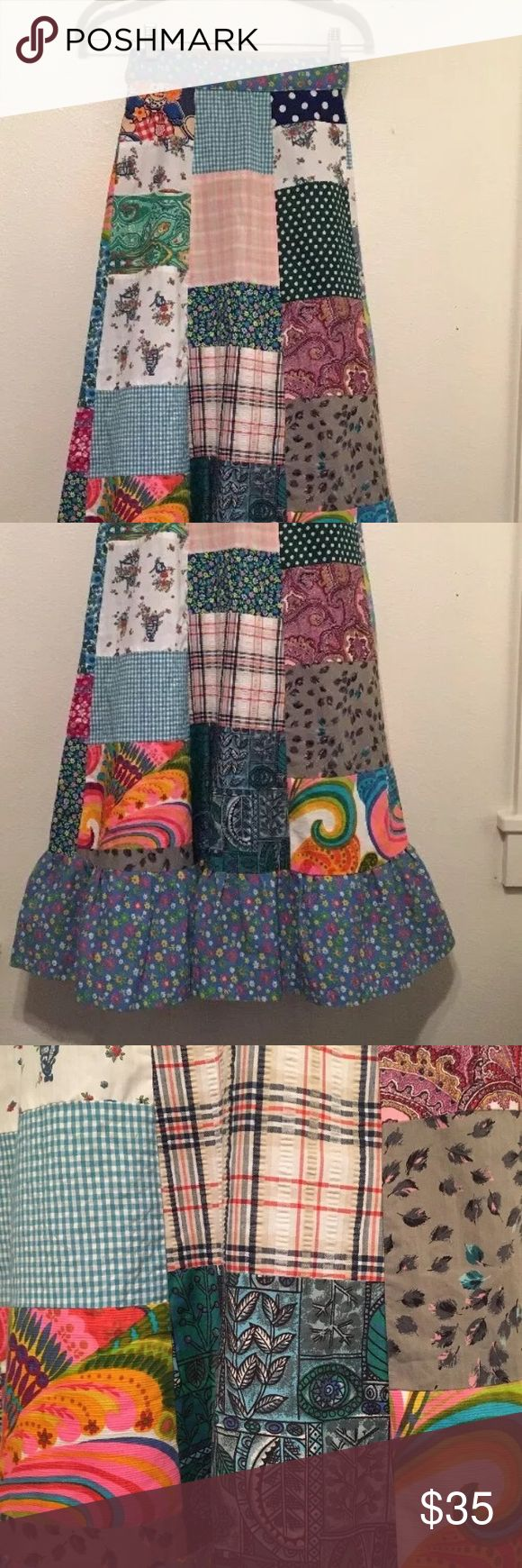 """70's Pastel Patchwork Crazy long Handmade Skirt laying flat 12"""" across waist 37"""" in Length Button snaps closures on back. Awsome Vintage Skirt! handmade vintage Skirts Maxi"""