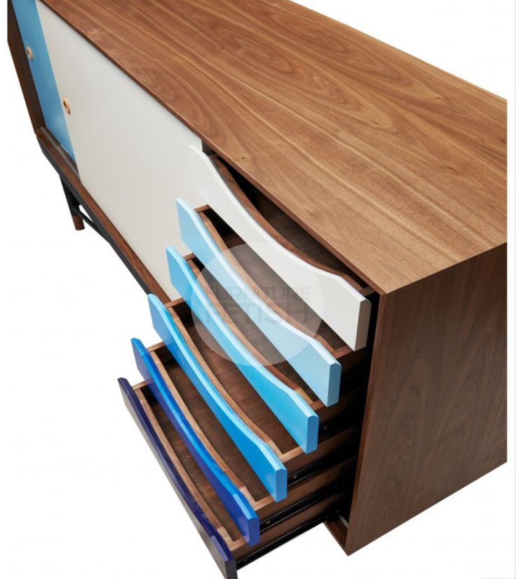 Replica Finn Juhl Sideboard - Scandinavian sideboard with gorgeous gradient blue feature draws