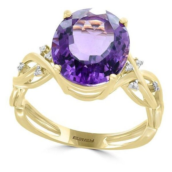Effy Viola Amethyst, Diamond and 14K Yellow Gold Ring (4.165 DKK) ❤ liked on Polyvore featuring jewelry, rings, purple, 14 karat gold diamond ring, amethyst rings, purple diamond ring, gold diamond rings and amethyst gold ring
