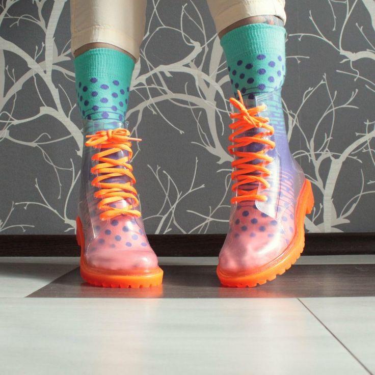 Прозрачные резиновые ботинки Invisible-Shoes Оранжевые