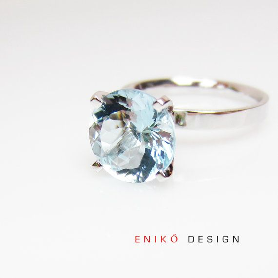 Engagement ring Aquamarine 14k white gold Solitaire high setting March birthstone on Etsy, $1,995.00 CAD