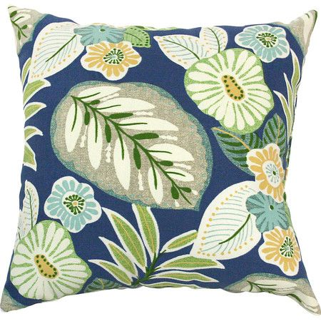 Lend a touch of tropical flair to your porch swing or living room seating group with this lovely pillow, showcasing a botanical motif.