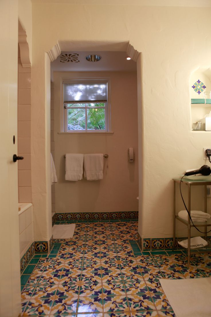 Love the tile floor in this bathroom of the Four Seasons Biltmore in Santa Barbara.
