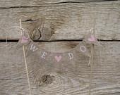 Custom surname baker banner with Mr, white lettering, tea dyed cotton. hearts. $35.00, via Etsy.