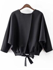 blouse fendu chauve-souris manche -Noir