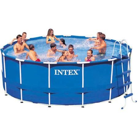 "Intex 15' x 48"" Metal Frame Swimming Pool - Walmart.com"