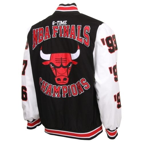 Chicago Bulls 6X NBA Finals Champs High Point Commemorative Full Button Jacket - Black/White ...