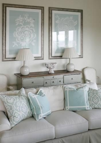 Paint the walls Sherwin Williams Watery. Add shells from the ocean and instead of white lamps blue lamps.