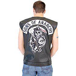 SOA Sons of Anarchy Black Leather Highway Biker Vest (Adult X-Large)