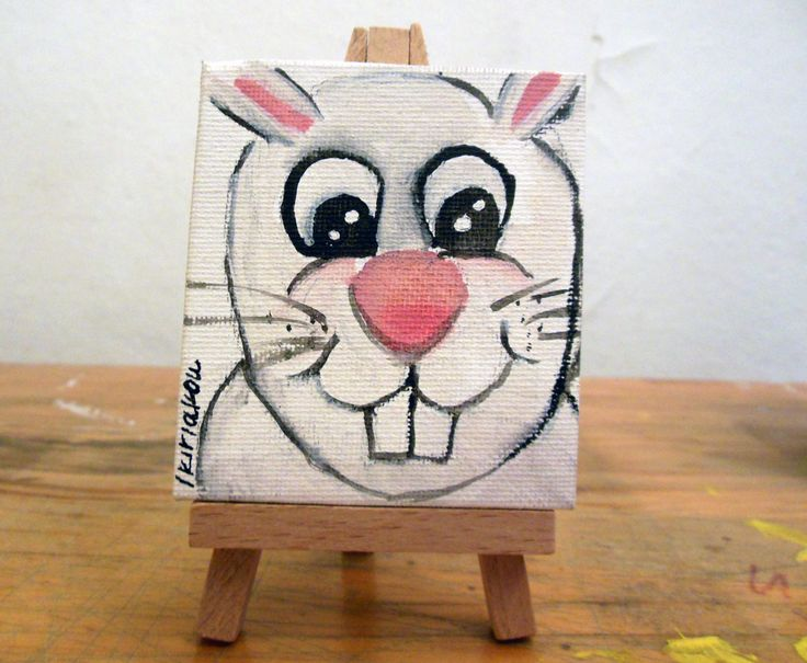 Easter Cute Funny Happy Bunny Original painting on easel - Mini canvas! by PapeMoe on Etsy