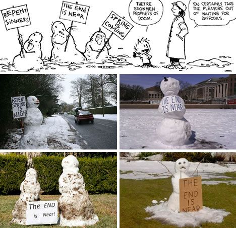 Calvin and Hobbs real life snowman depictions