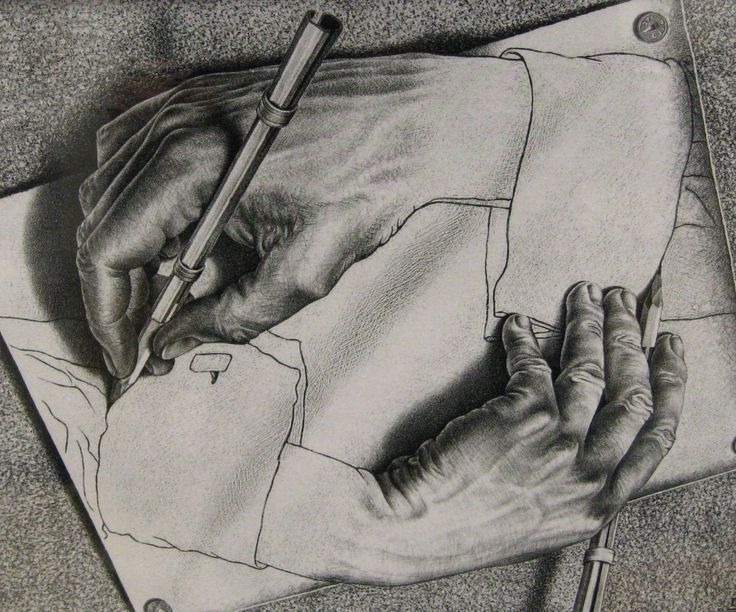 Image result for drawing hands escher