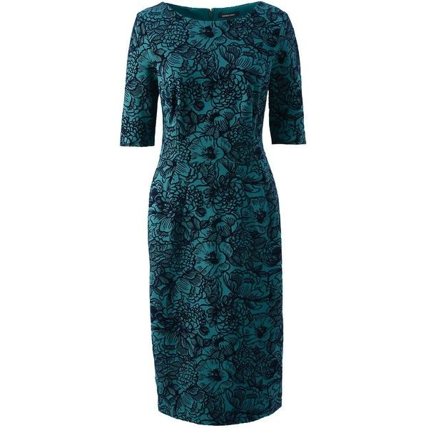 Lands' End Women's Petite Elbow Sleeve Ponté Sheath Dress ($99) ❤ liked on Polyvore featuring dresses, green, evening dresses, cocktail dresses, special occasion dresses, blue cocktail dresses and petite dresses